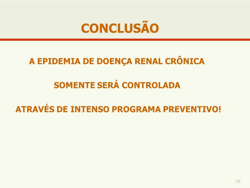 CONCLUSÃO A EPIDEMIA DE DOENÇA RENAL CRÔNICA SOMENTE SERÁ CONTROLADA