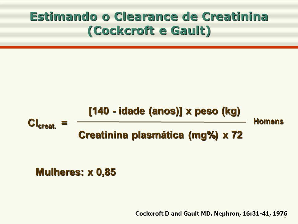 Estimando o Clearance de Creatinina (Cockcroft e Gault)
