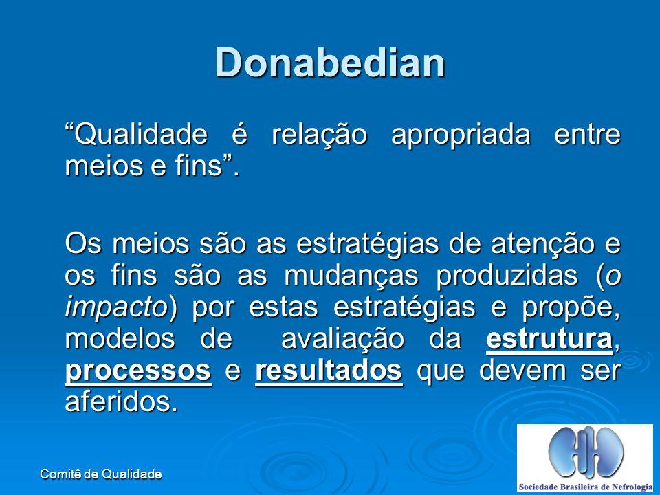 Donabedian Qualidade é relação apropriada entre meios e fins .