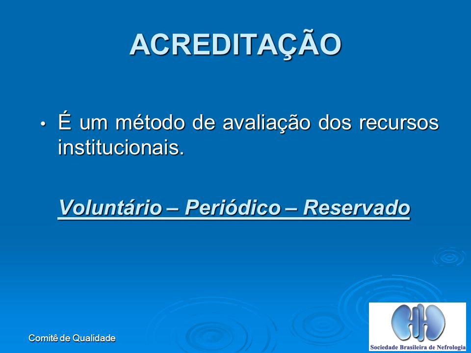 ACREDITAÇÃO É um método de avaliação dos recursos institucionais.