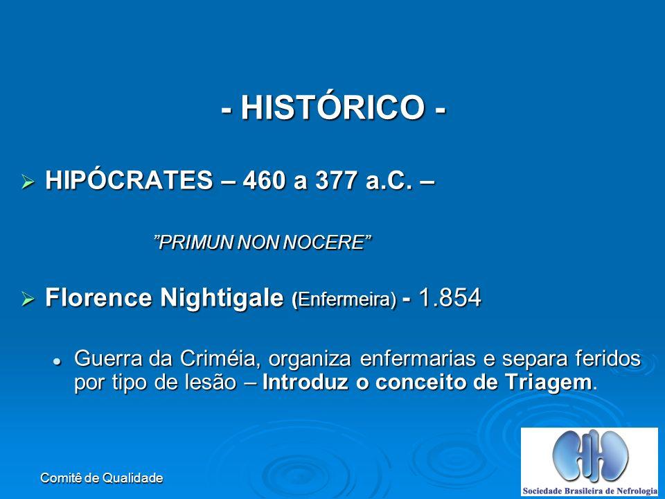 - HISTÓRICO - HIPÓCRATES – 460 a 377 a.C. –