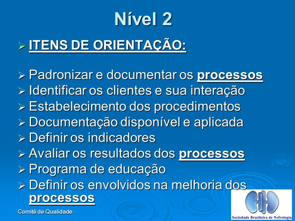 Nível 2 ITENS DE ORIENTAÇÃO: Padronizar e documentar os processos