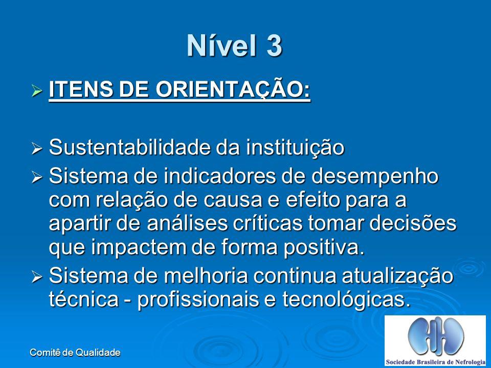 Nível 3 ITENS DE ORIENTAÇÃO: Sustentabilidade da instituição