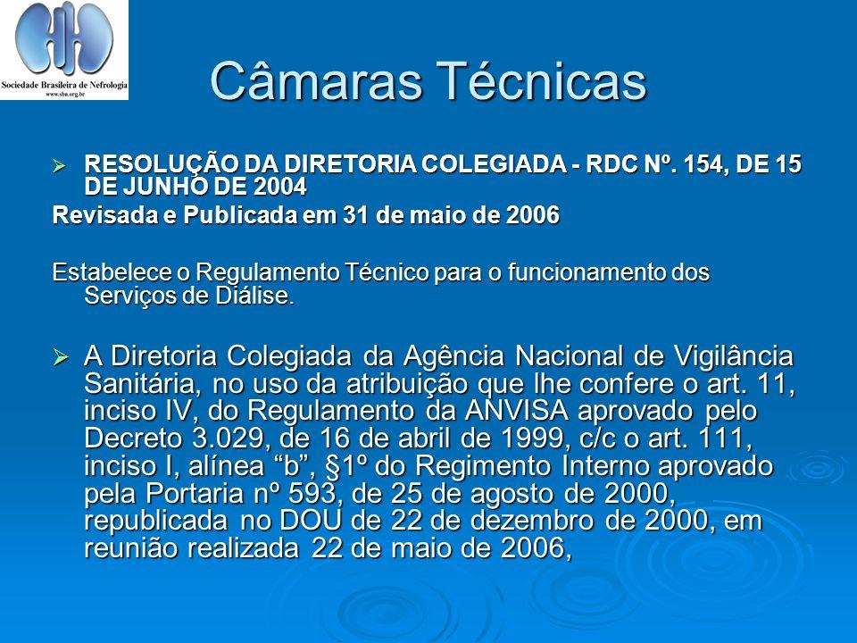 Câmaras Técnicas RESOLUÇÃO DA DIRETORIA COLEGIADA - RDC Nº. 154, DE 15 DE JUNHO DE 2004. Revisada e Publicada em 31 de maio de 2006.