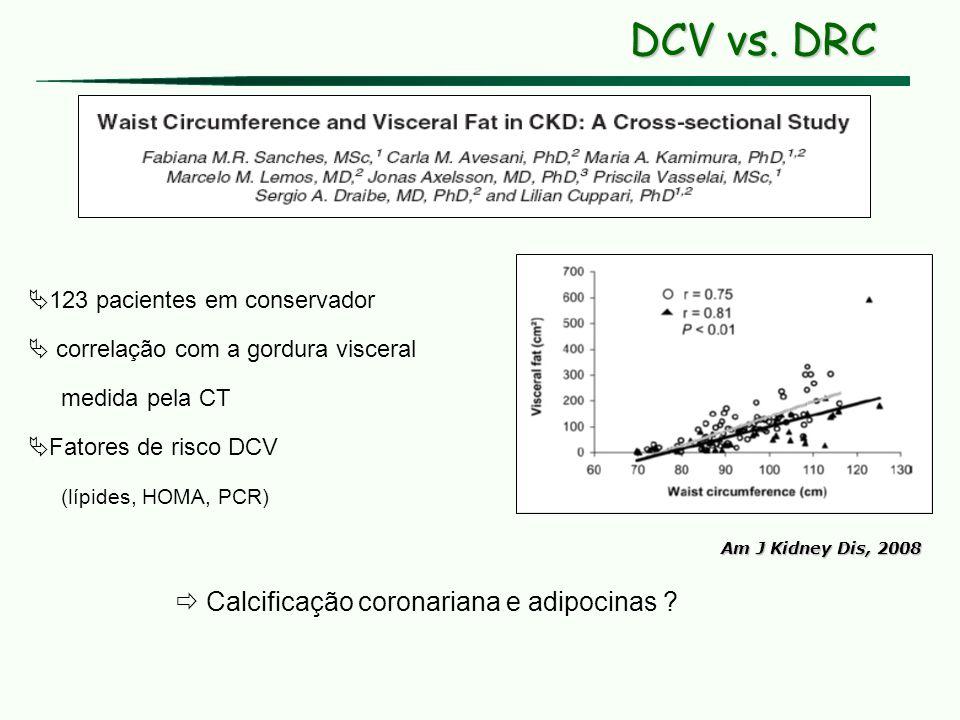 DCV vs. DRC  Calcificação coronariana e adipocinas