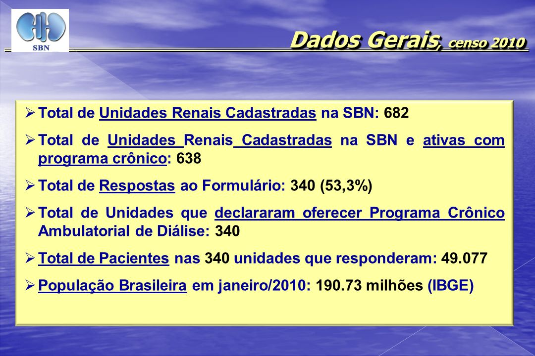 Dados Gerais, censo 2010 Total de Unidades Renais Cadastradas na SBN: 682.