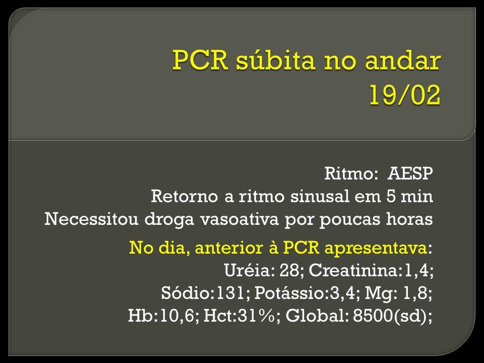 PCR súbita no andar 19/02 Ritmo: AESP Retorno a ritmo sinusal em 5 min