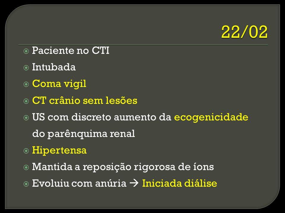 22/02 Paciente no CTI Intubada Coma vigil CT crânio sem lesões