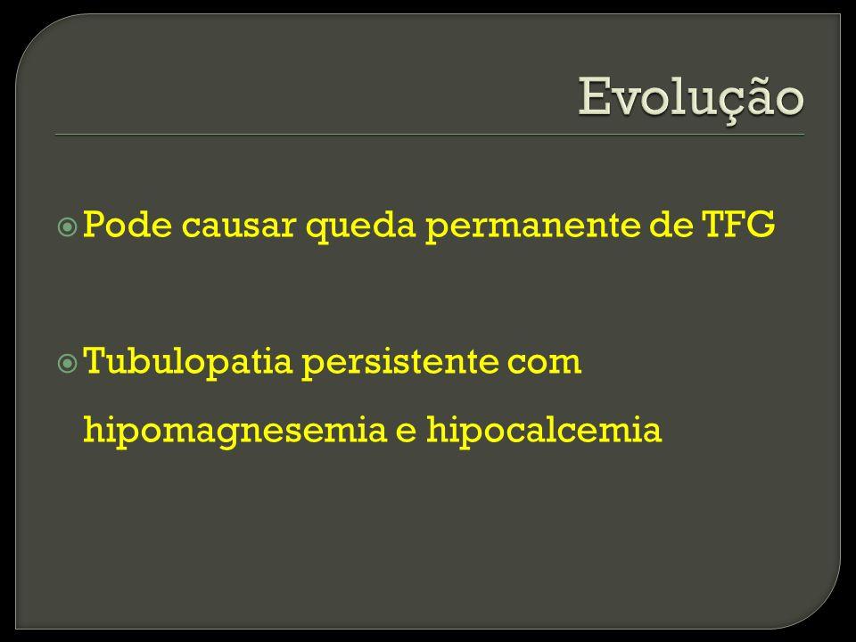 Evolução Pode causar queda permanente de TFG