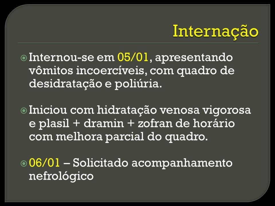 Internação Internou-se em 05/01, apresentando vômitos incoercíveis, com quadro de desidratação e poliúria.