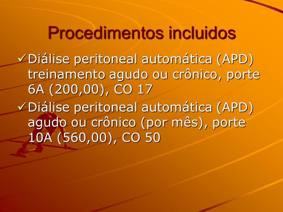 Procedimentos incluidos