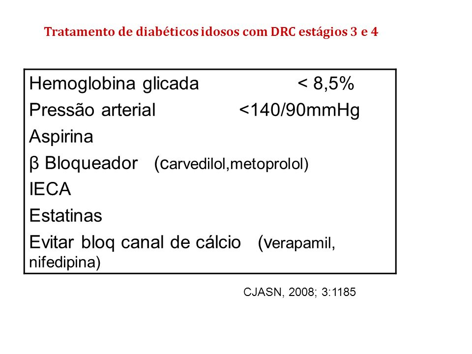 Hemoglobina glicada < 8,5% Pressão arterial <140/90mmHg Aspirina