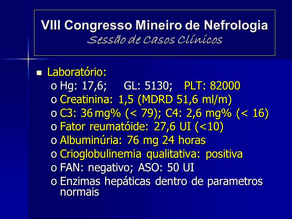 VIII Congresso Mineiro de Nefrologia Sessão de Casos Clínicos