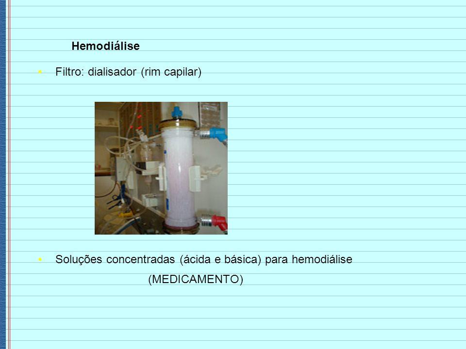 Hemodiálise Filtro: dialisador (rim capilar) Soluções concentradas (ácida e básica) para hemodiálise.