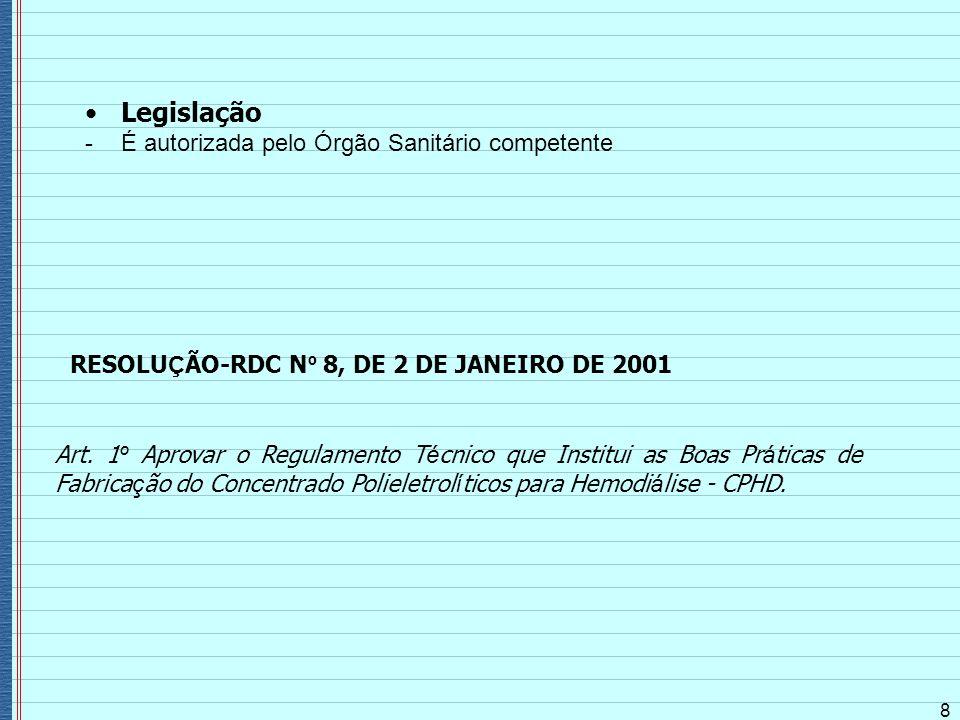 Legislação É autorizada pelo Órgão Sanitário competente