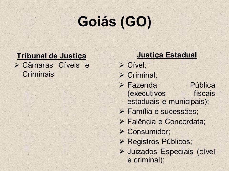 Goiás (GO) Tribunal de Justiça Câmaras Cíveis e Criminais