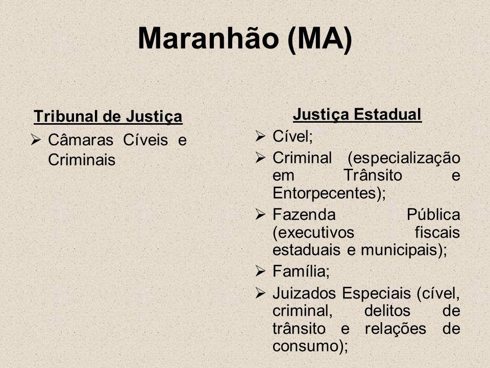 Maranhão (MA) Tribunal de Justiça Câmaras Cíveis e Criminais