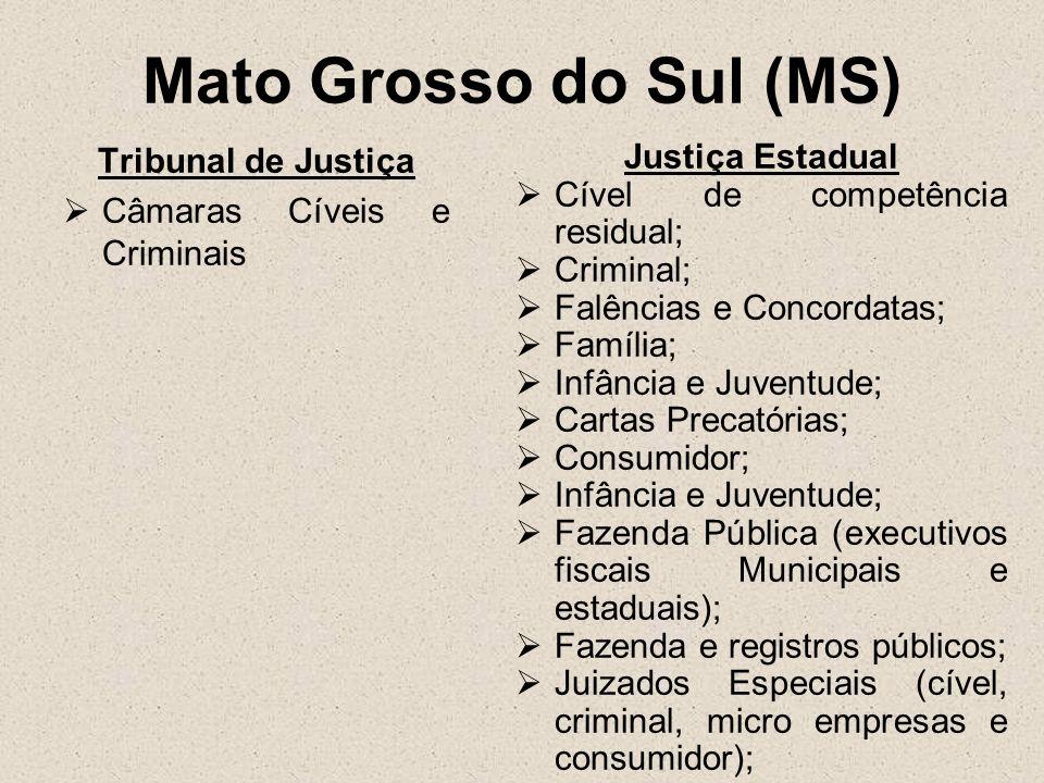 Mato Grosso do Sul (MS) Tribunal de Justiça Câmaras Cíveis e Criminais