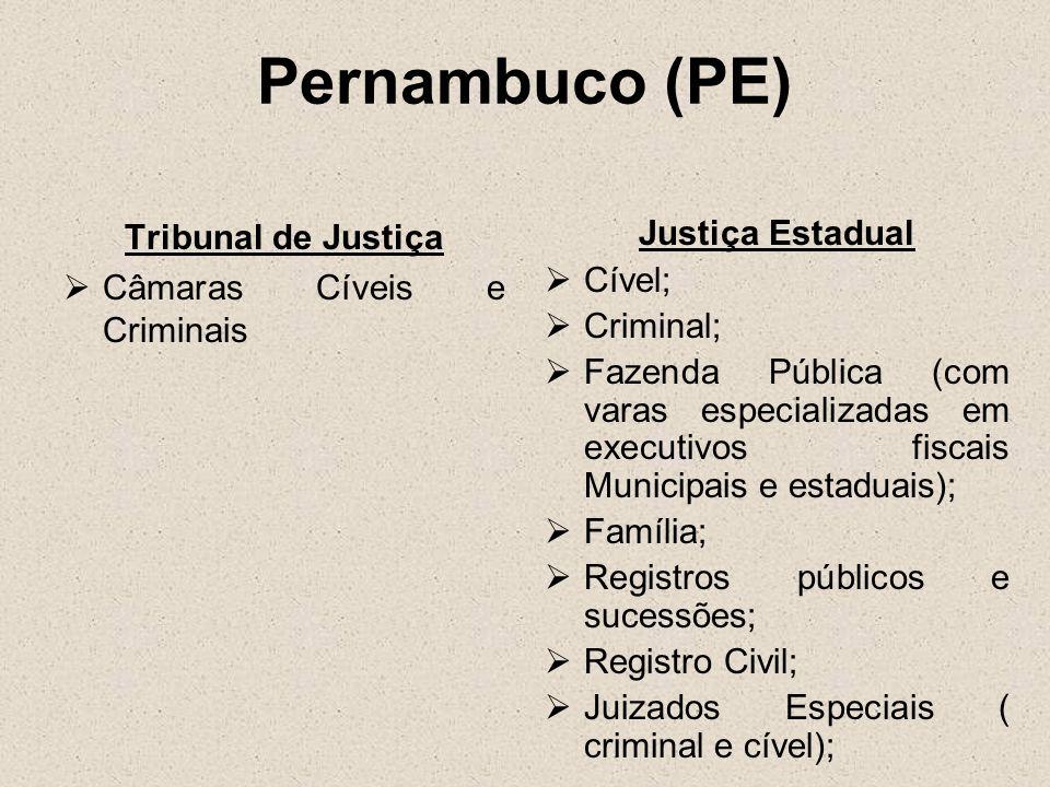 Pernambuco (PE) Tribunal de Justiça Câmaras Cíveis e Criminais