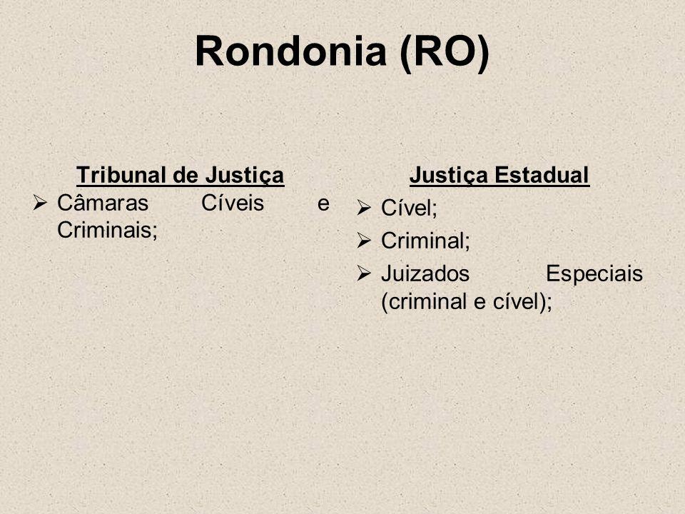 Rondonia (RO) Tribunal de Justiça Câmaras Cíveis e Criminais;