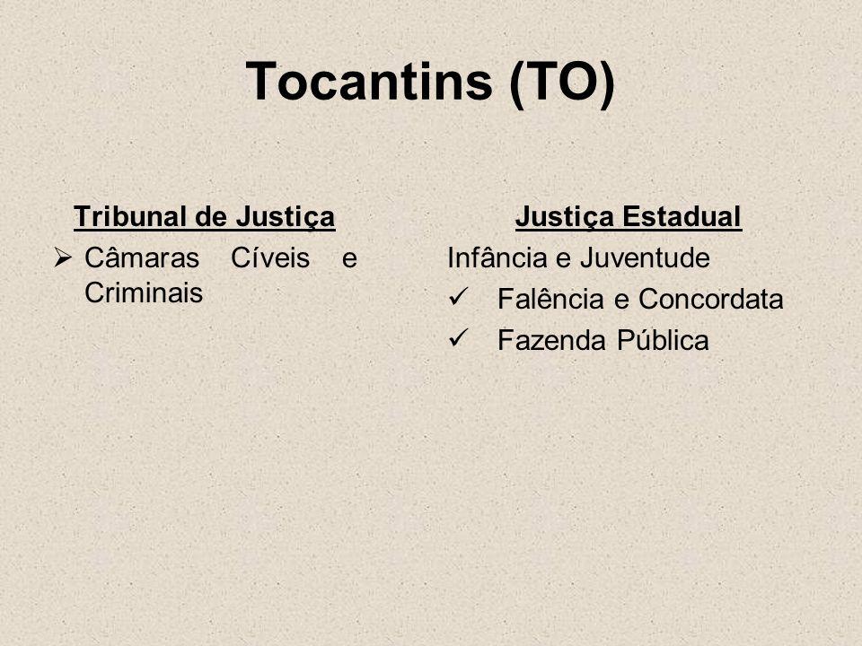 Tocantins (TO) Tribunal de Justiça Câmaras Cíveis e Criminais