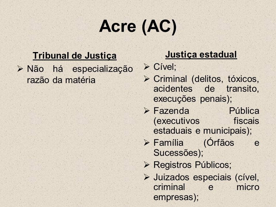 Acre (AC) Tribunal de Justiça Não há especialização razão da matéria