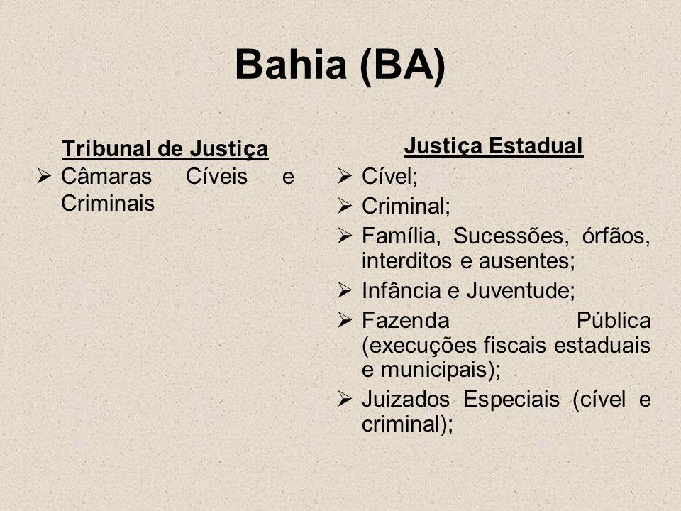 Bahia (BA) Tribunal de Justiça Câmaras Cíveis e Criminais