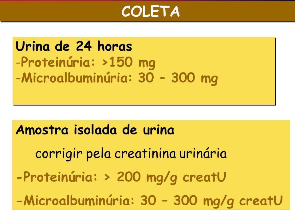 COLETA Urina de 24 horas Proteinúria: >150 mg