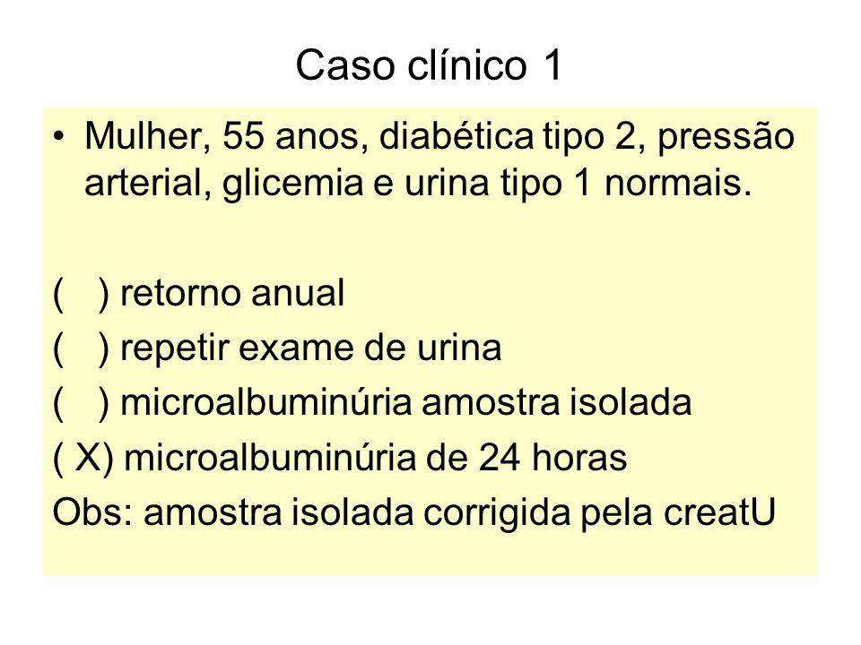 Caso clínico 1 Mulher, 55 anos, diabética tipo 2, pressão arterial, glicemia e urina tipo 1 normais.