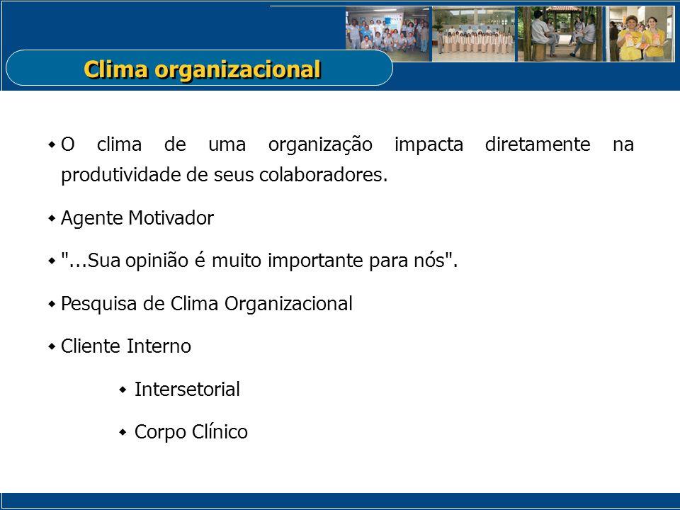 Clima organizacional O clima de uma organização impacta diretamente na produtividade de seus colaboradores.