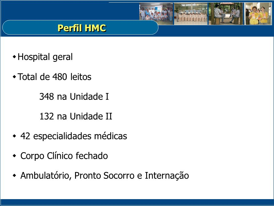 Perfil HMC Hospital geral. Total de 480 leitos. 348 na Unidade I. 132 na Unidade II. 42 especialidades médicas.