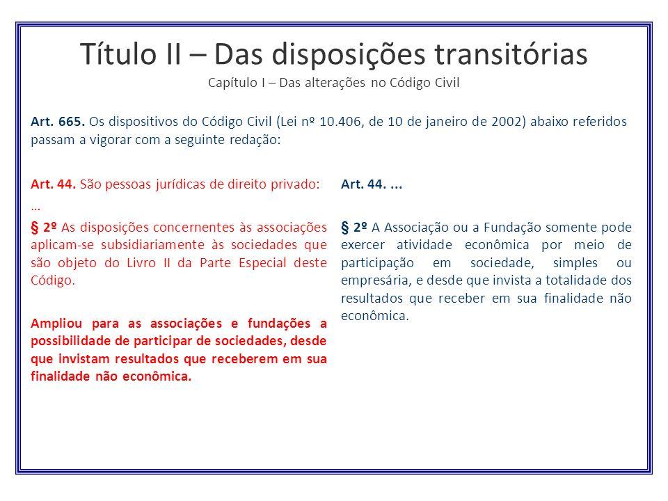 Título II – Das disposições transitórias Capítulo I – Das alterações no Código Civil