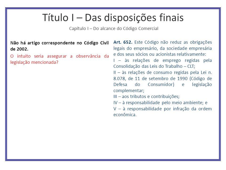 Título I – Das disposições finais Capítulo I – Do alcance do Código Comercial
