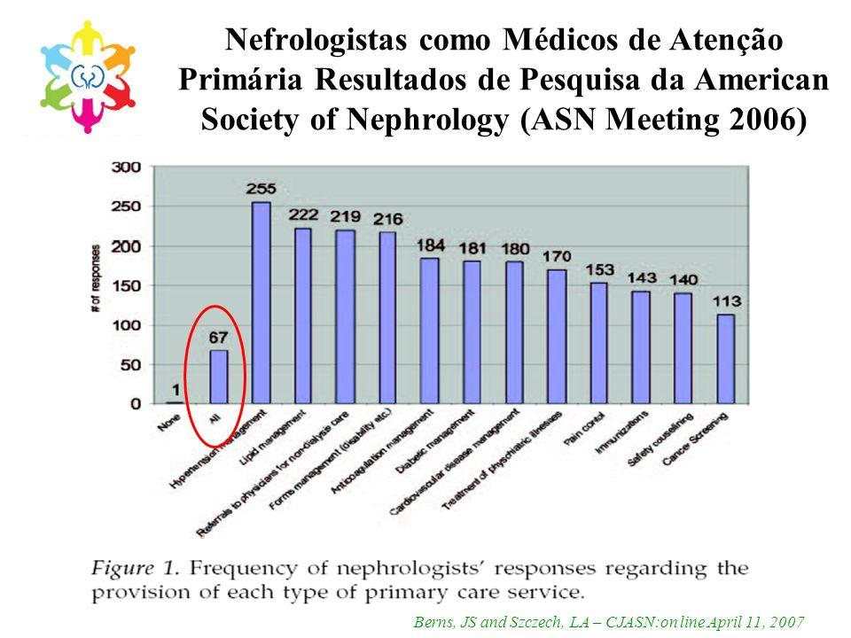 Nefrologistas como Médicos de Atenção Primária Resultados de Pesquisa da American Society of Nephrology (ASN Meeting 2006)