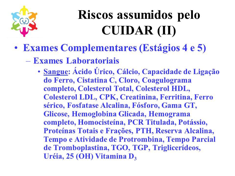 Riscos assumidos pelo CUIDAR (II)