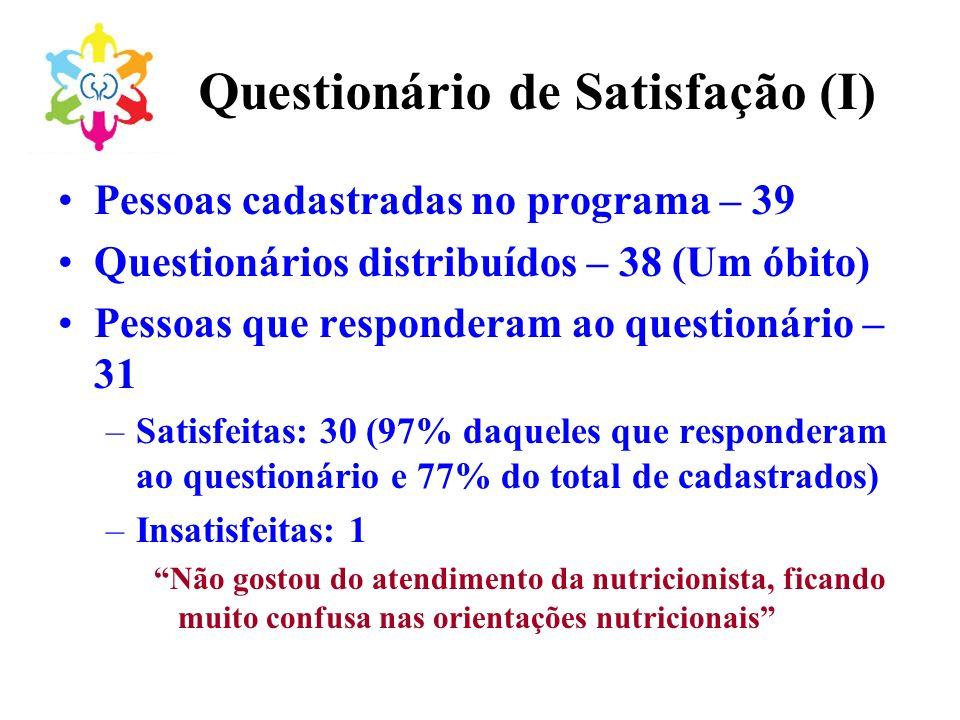 Questionário de Satisfação (I)