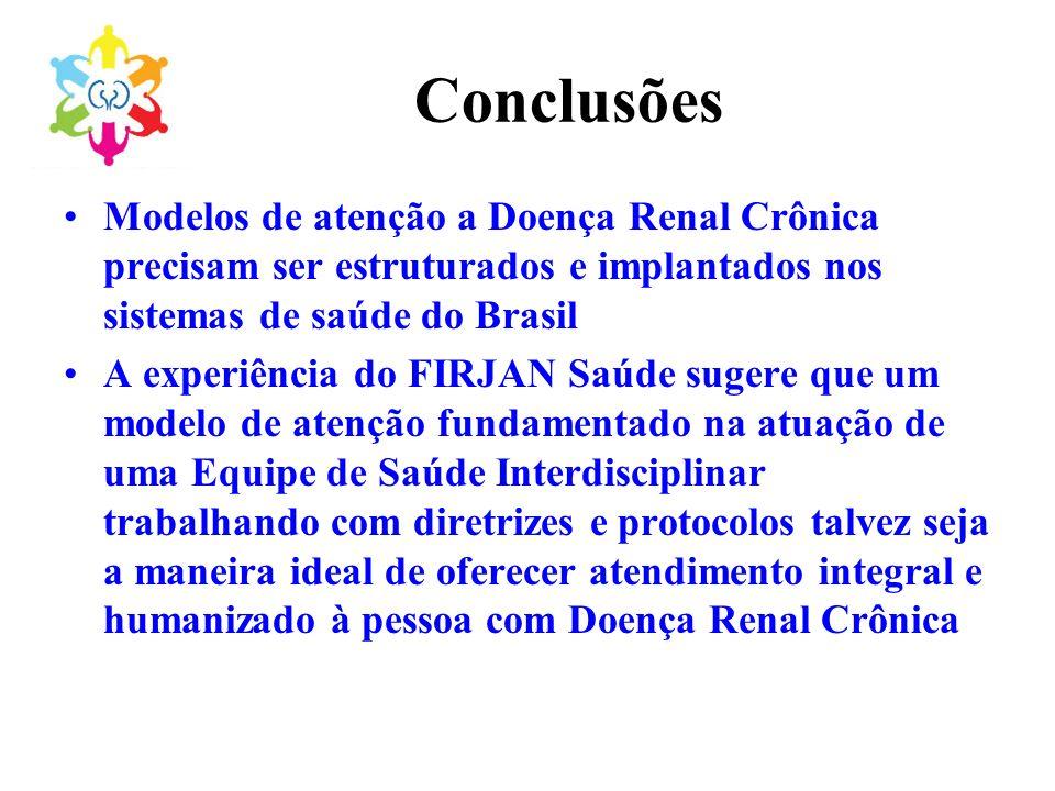 Conclusões Modelos de atenção a Doença Renal Crônica precisam ser estruturados e implantados nos sistemas de saúde do Brasil.
