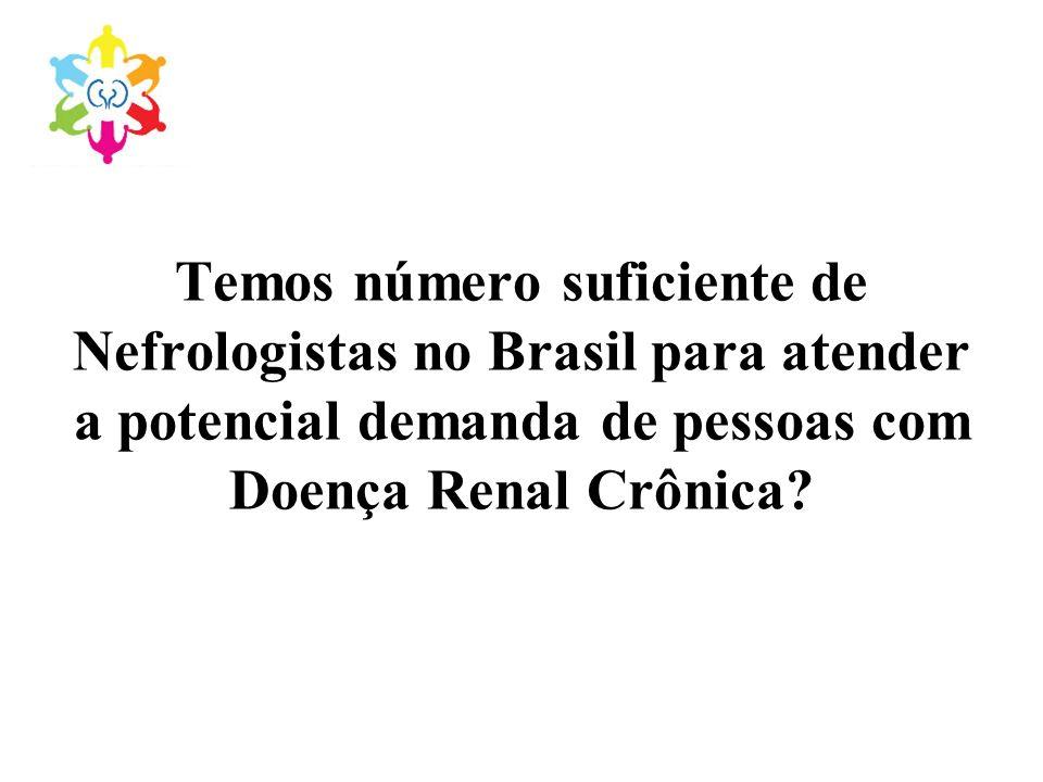 Temos número suficiente de Nefrologistas no Brasil para atender a potencial demanda de pessoas com Doença Renal Crônica