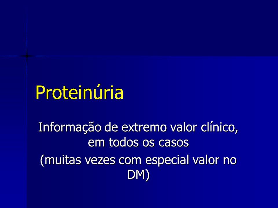 Proteinúria Informação de extremo valor clínico, em todos os casos
