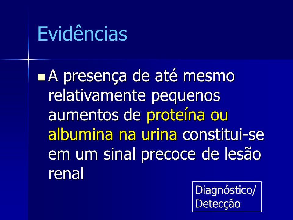 Evidências A presença de até mesmo relativamente pequenos aumentos de proteína ou albumina na urina constitui-se em um sinal precoce de lesão renal.