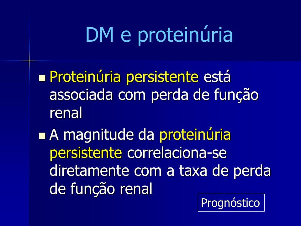 DM e proteinúria Proteinúria persistente está associada com perda de função renal.