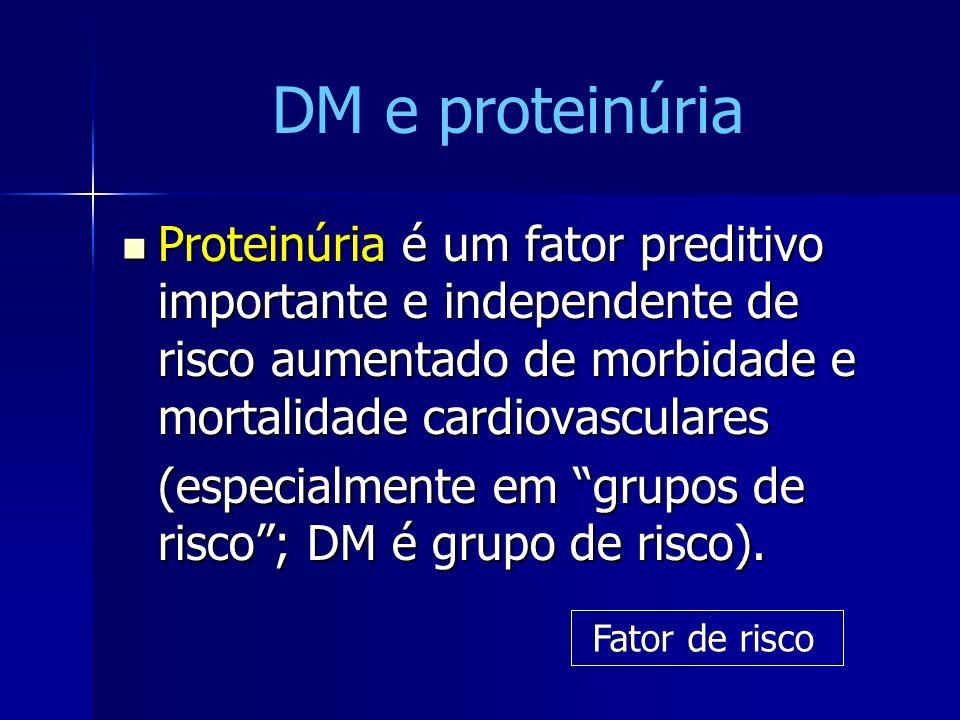 DM e proteinúria Proteinúria é um fator preditivo importante e independente de risco aumentado de morbidade e mortalidade cardiovasculares.