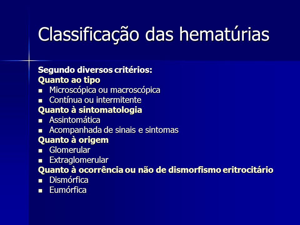 Classificação das hematúrias