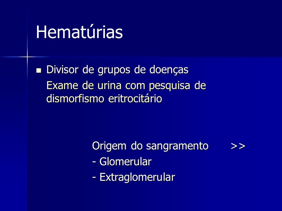 Hematúrias Divisor de grupos de doenças