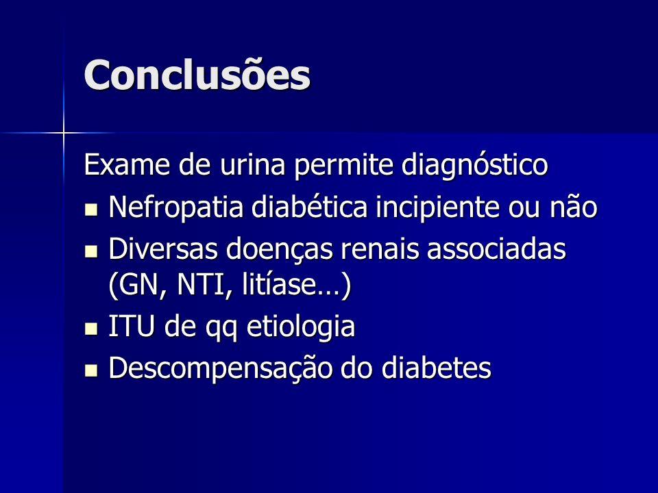 Conclusões Exame de urina permite diagnóstico