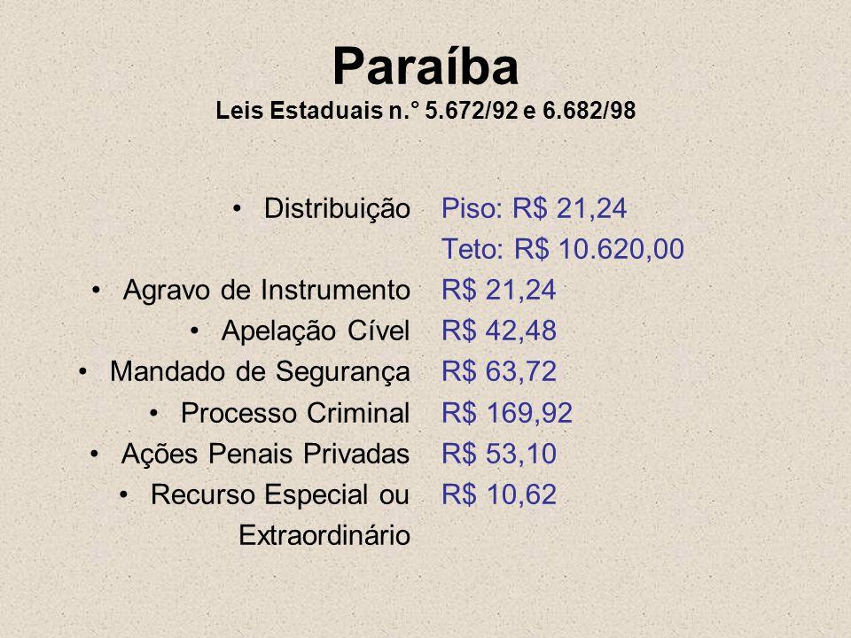 Paraíba Leis Estaduais n.° 5.672/92 e 6.682/98