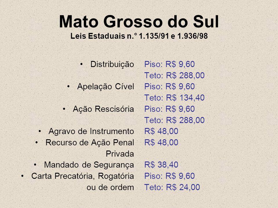 Mato Grosso do Sul Leis Estaduais n.° 1.135/91 e 1.936/98