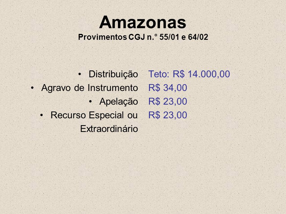 Amazonas Provimentos CGJ n.° 55/01 e 64/02