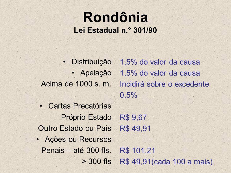 Rondônia Lei Estadual n.° 301/90