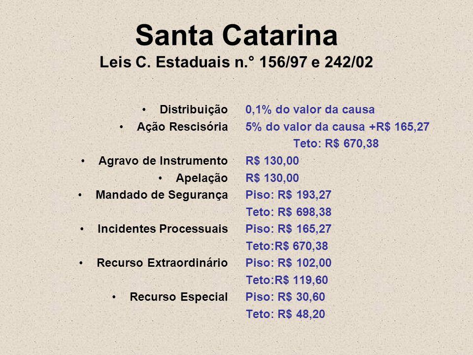 Santa Catarina Leis C. Estaduais n.° 156/97 e 242/02
